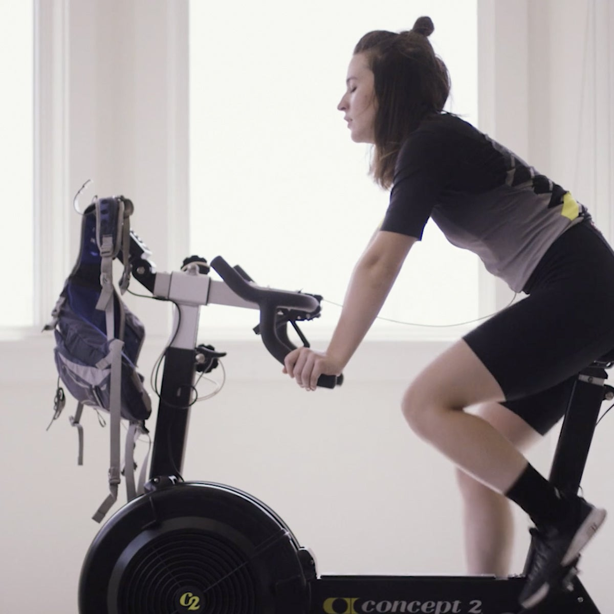 hannah jordan riding a cycling machine